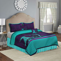 Green Taxi King Size Quilted Bedspread