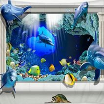 Wall Tapestry/Throw 3D Dolphins